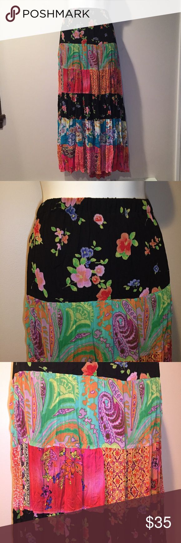 "Coldwater Creek floral flowy skirt. Size Large Excellent condition Coldwater Creek floral flowy skirt. Size Large. 17"" elastic waist (laying flat) 36"" long. Polyester. Coldwater Creek Skirts"