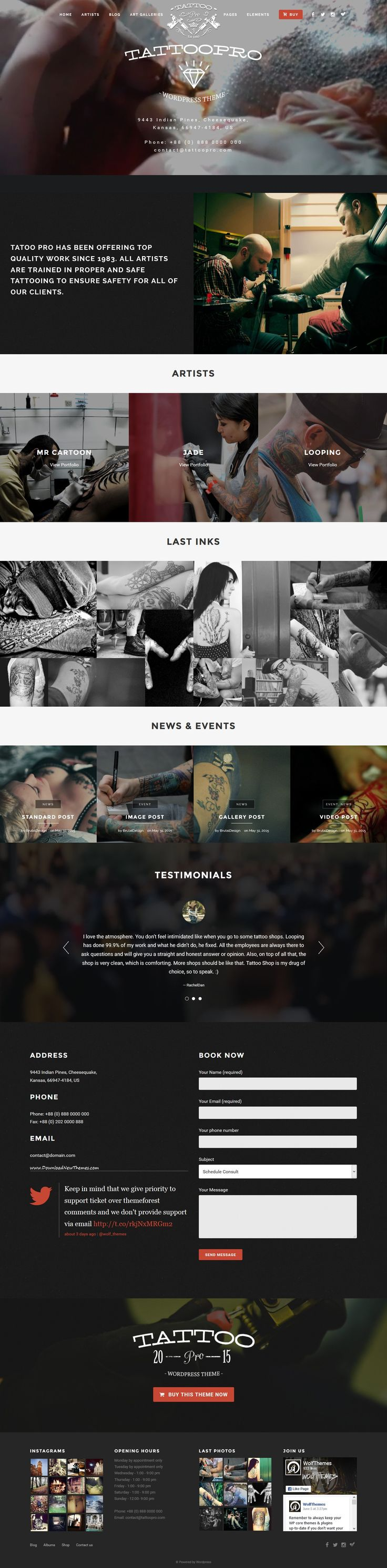 Tattoo Pro is a premium Wordpress theme for your #Tattoo #Shop. It uses the power of #WordPress to allows you to create a neat website very easily. It includes all the features you need to showcase your work. 5 different blog layouts available, multiple galleries and sliders for your photos and so much more! Get a professional #website for your business now!