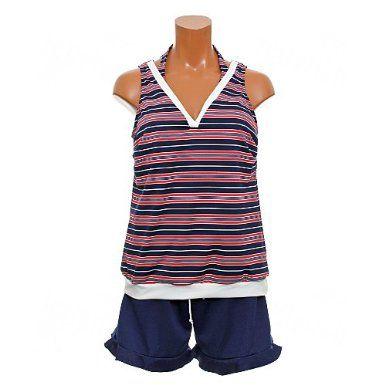 Amazon.co.jp: (トロピカルビーチ) TROPICAL BEACH 水着 ボーダー柄 タンキニ スカート付き 4点セット水着 大きいサイズ ap823-12: 服&ファッション小物