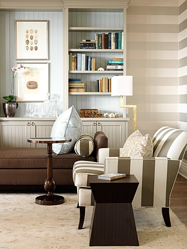 Office | Sarah Richardson Design.  Great use of a striped wall - flat and metallic paint give it awesome texture