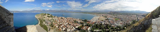 Ascent to Palamidi Fortress in Nafplio. Panorama from step 562.