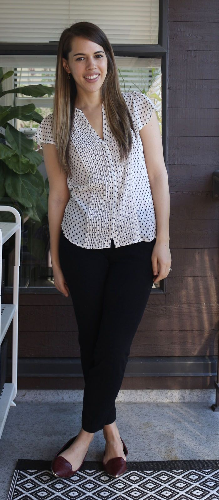 Jules in Flats April 2016 Outfits H&M polka dot blouse, Old Navy Pixie Pants, Aldo flats