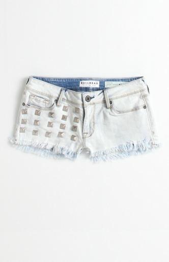 Studded Fray Hem Snow Shorts