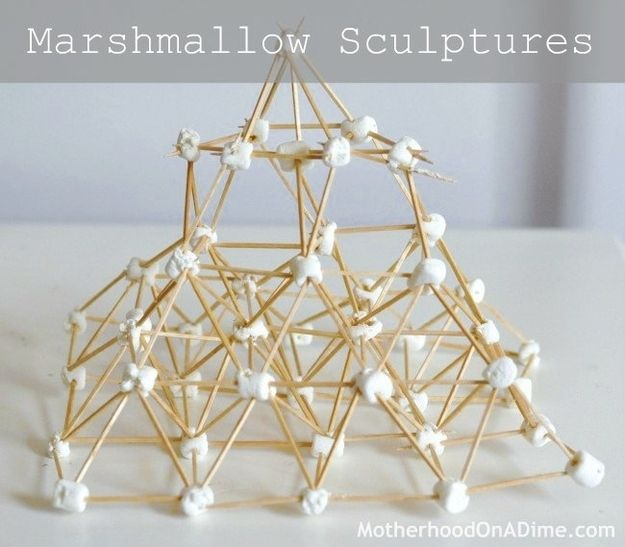 Build a marshmallow sculpture. | The Ultimate Summer Bucket List For Bored Kids
