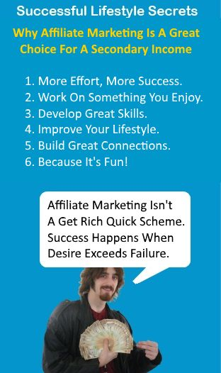 Why Affiliate Marketing? Affiliate marketing can be a great way to create a secondary income or even build an online business. The level you achieve will depend on your time and effort you put into it. The harder you work, the bigger the payoff. It's necessary to take caution around the many scams online. However, they are easy to pick out when you know what you're looking for and I can assure you I won't be praising them up around here. Affiliate marketing is advertising a produc...
