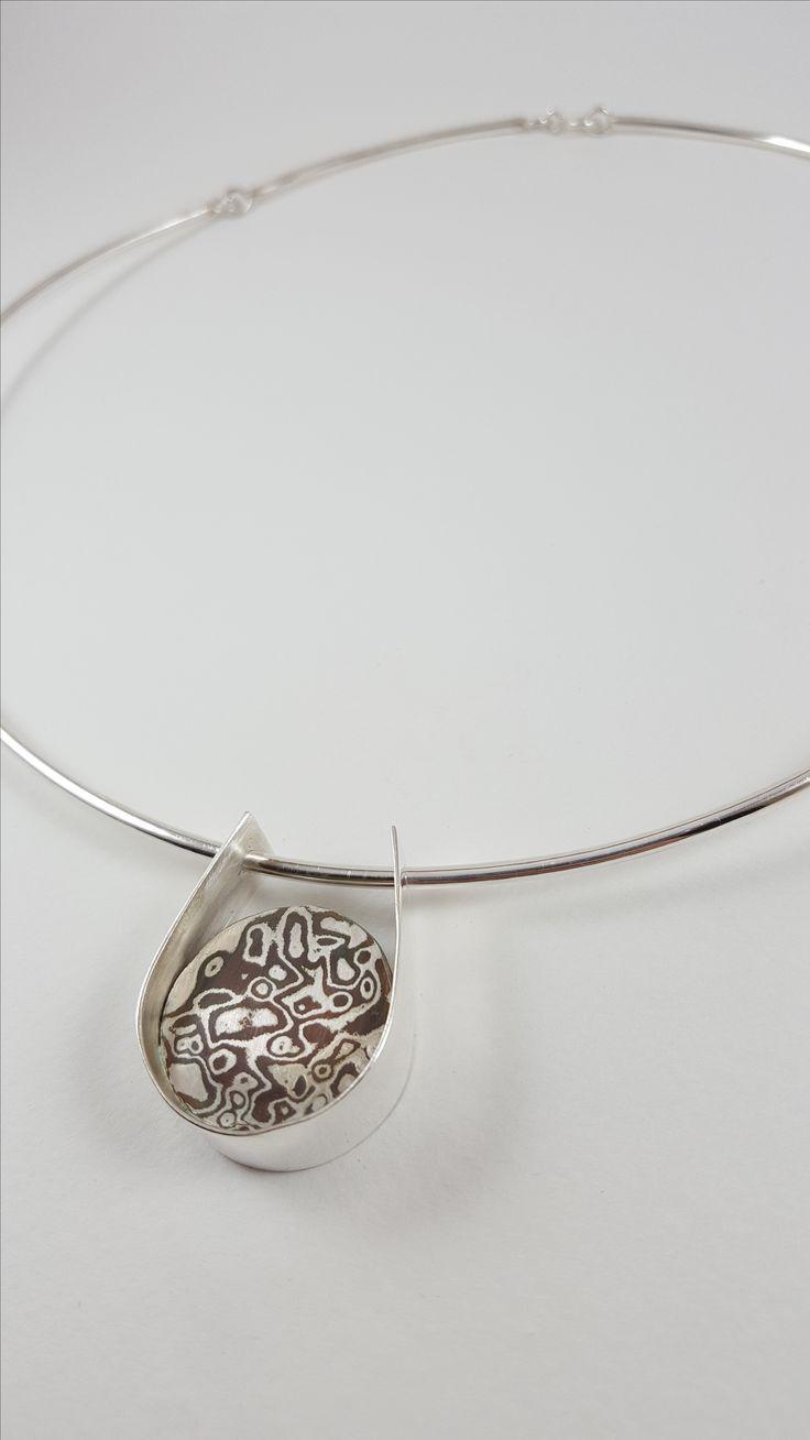 Necklace,Silver 950,Copper,Mokume