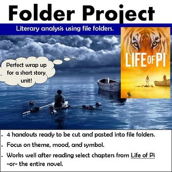 Life of Pi - Folder ProjectLiterary analysis using file folders4 handouts ready to be cut and pasted into file folders.Focus on theme, mood, and symbol.Works well after reading select chapters from Life of Pi -or- the entire novel.