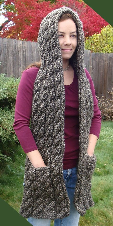 Free Knitting Pattern For Cascading Cables Hooded Scarf Long