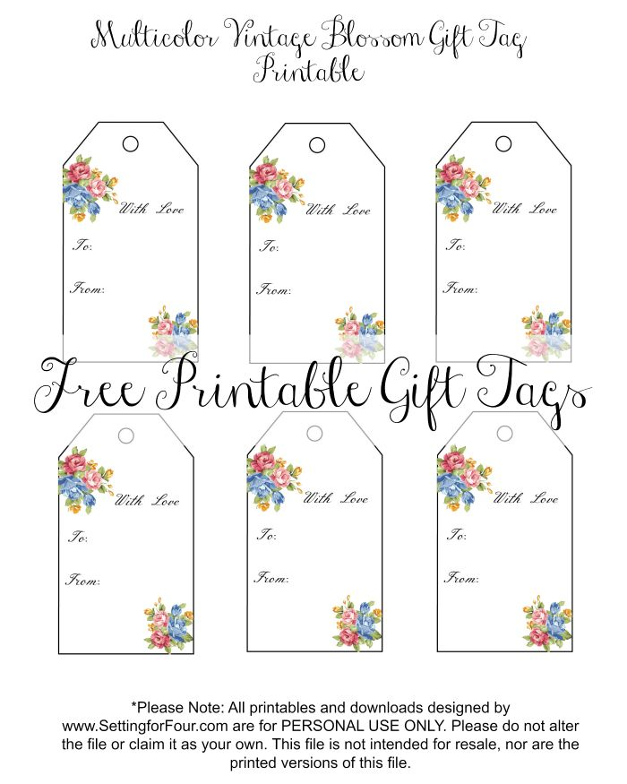 Get your FREE Vintage Blossom Printable Gift Tags! These beautiful floral gift tags are perfect for: Valentine's gifts, birthday gifts, graduation presents, anniversary gifts and Mother's Day gifts!