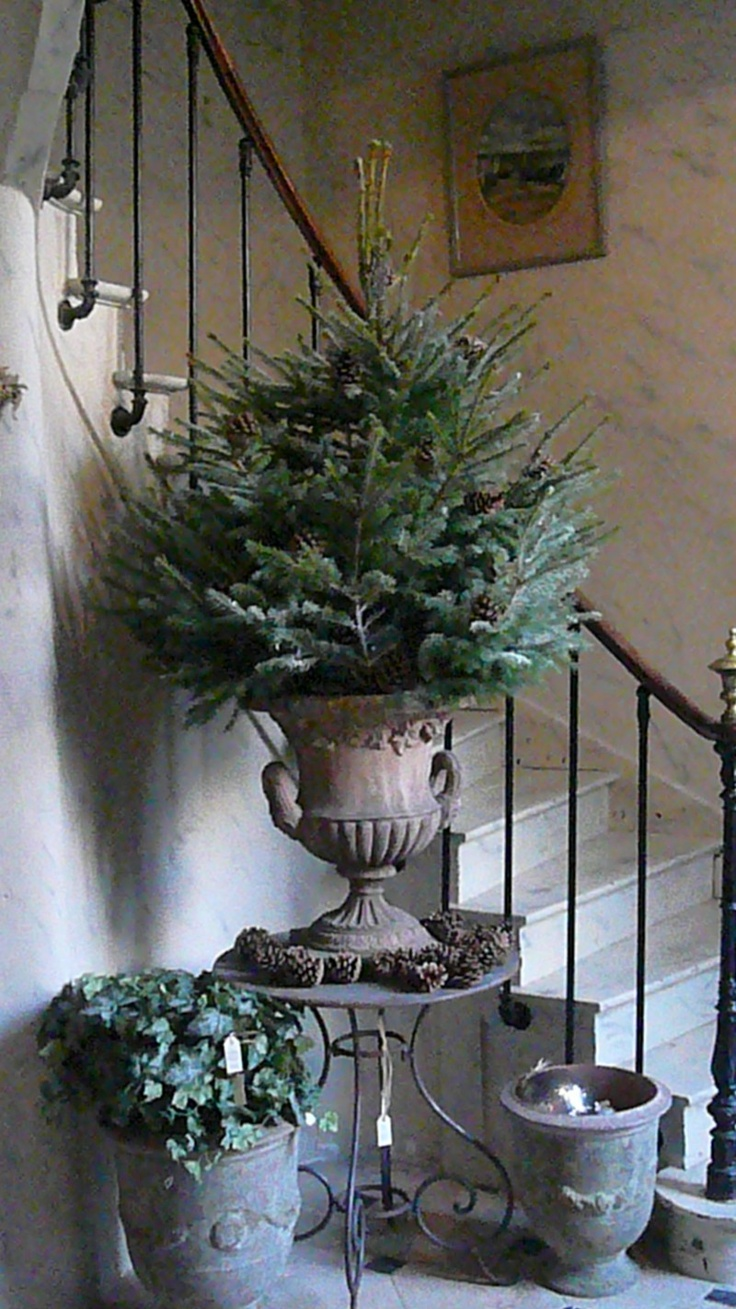 Bring urns/planters inside, change the foliage for the holidays. How easy is this?