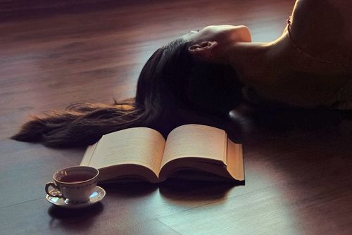 girl   book   tea   daydreaming