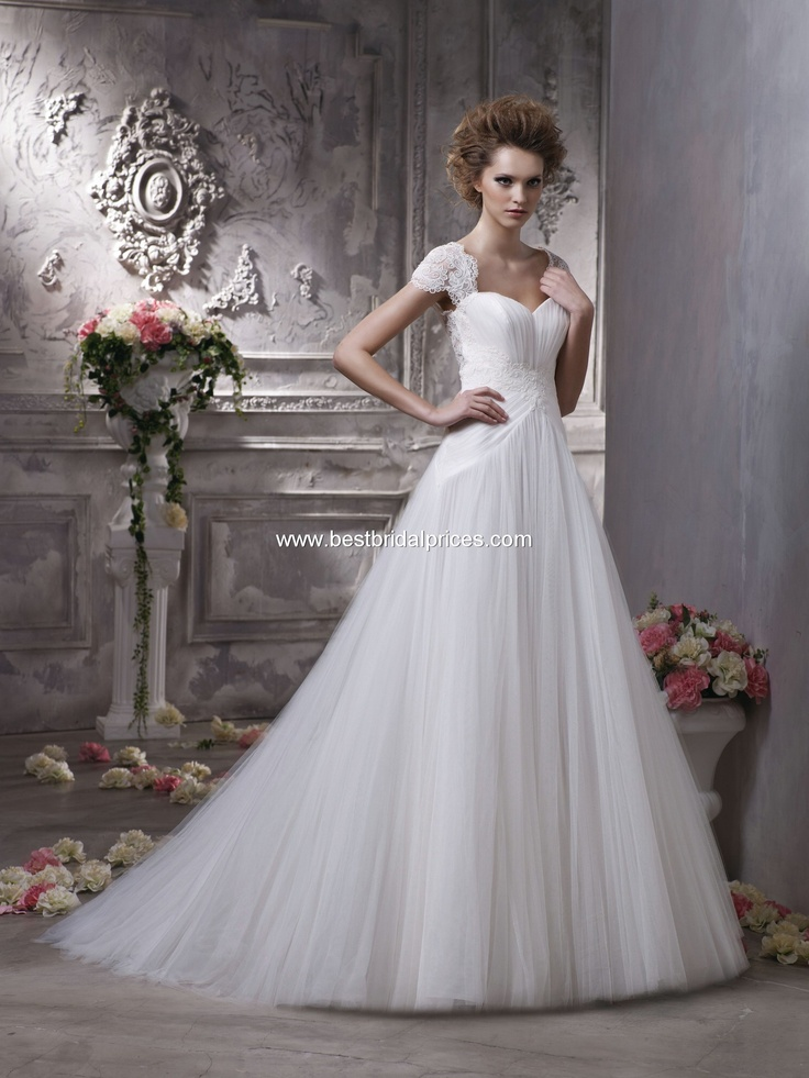 Anjolique Wedding Dresses - Style C156 all tulle, lace shoulders and back....we folded in back...tried this one on as the special order they had.