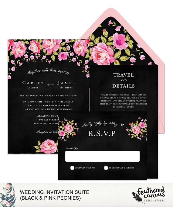 Wedding Invitation Suite Black & Pink Peonies