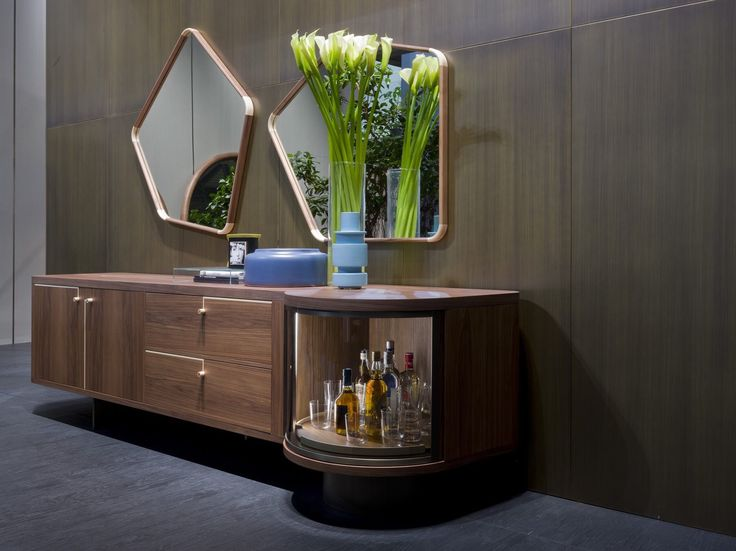 Rondo sideboard with bar and Ops mirrors