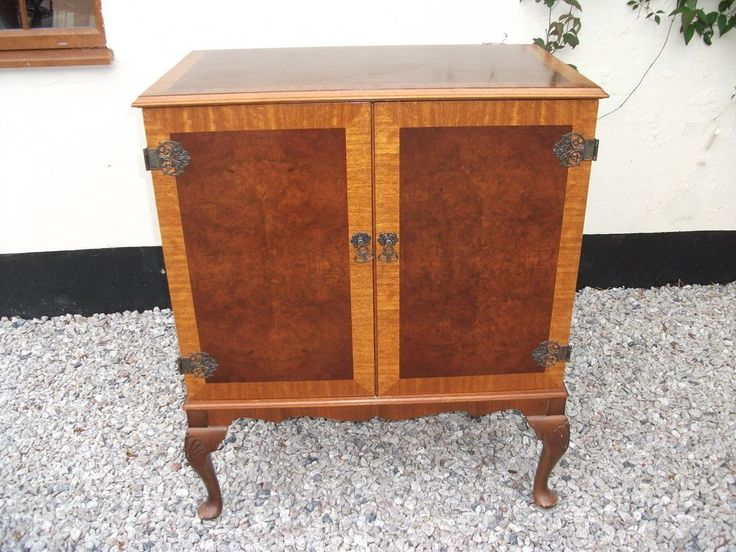 Vintage French Style TV Unit Drink Cabinet Cupboard Ornate Hinge Queen Anne Legs