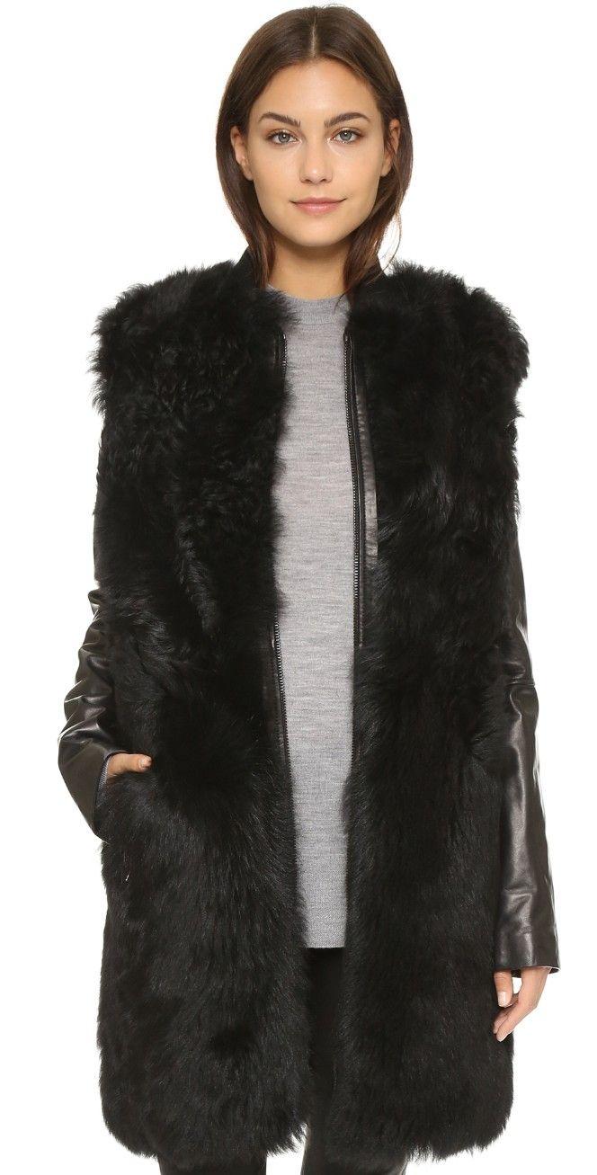 Vince Leather & Shearling Coat | SHOPBOP