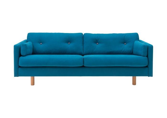 3 Sits Soffa I Blått Tyg Med Grå Knappar Fabulous Furniture Pinterest Chang'e 3 And Sofas