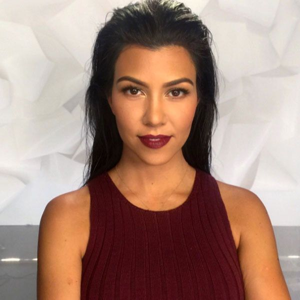 Bring on the Berry! Kourtney Kardashian Is Fall-Ready in Burgundy Sweater Dress with Matching Lipstick—Get All the Details | E! Online