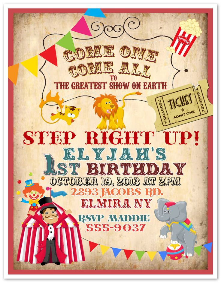 10 Circus Carnival Clown Birthday Party Invitations Custom Printed & Envelopes #newyorkinvitations #BirthdayChild