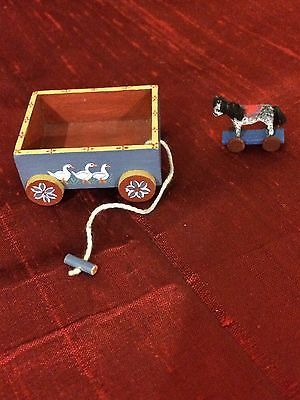 TOY-WAGON-AND-HORSE-HAND-PAINTED-SIGNED-PATRICIA-PAUL-039-91