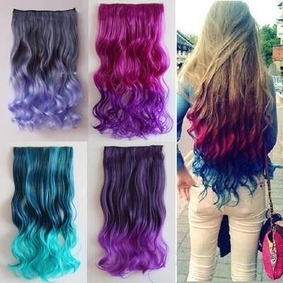 Fashion gradient color clip-on hair extension