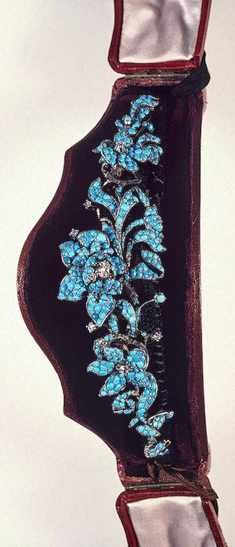 Alt view and larger image: Turquoise & Diamond Diadem c1800-1850.   Gold, turquoise, cut and uncut diamonds and silk; cast. Diam. 13.5 cm   Origin: Western Europe.    The Hermitage Museum