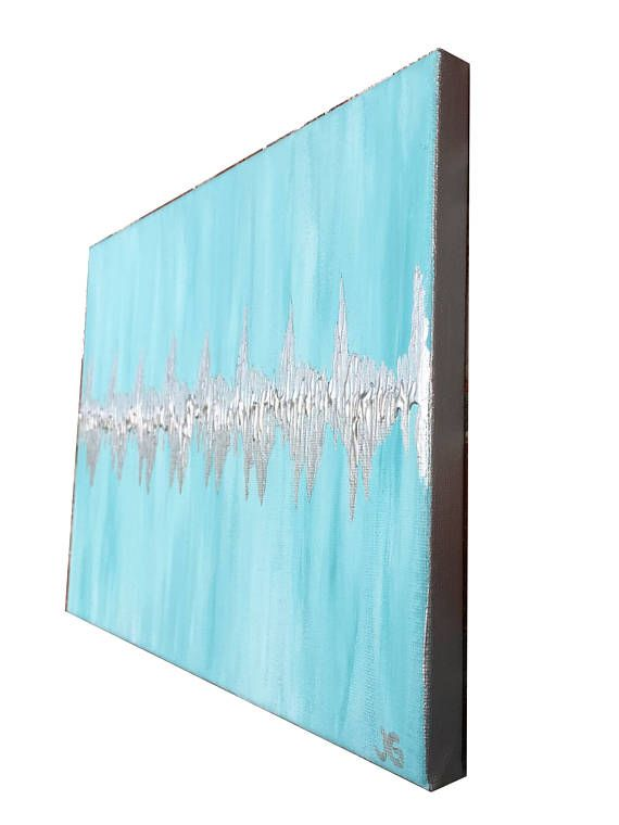 Baby Heartbeat Painting on Canvas Inspired by Sonogram  Nursery Decor or Baby Shower Gift idea! Just provide a quick pic of the heartbeat from a sonogram, and I'll create a one-of-a-kind piece of art for you. I can also use an audio recording. Just record the heartbeat with your phone!