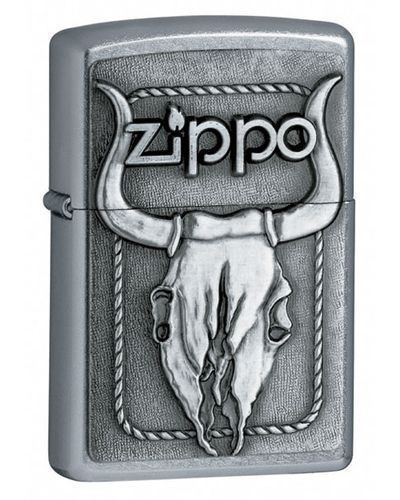 Zippo Bikers Punk Rock Bull Skull Head Emblem Street Chrome Cigarette Lighter