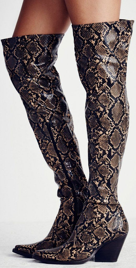 ed6fee1c7c2 Snakeskin Thigh High Boots in 2019
