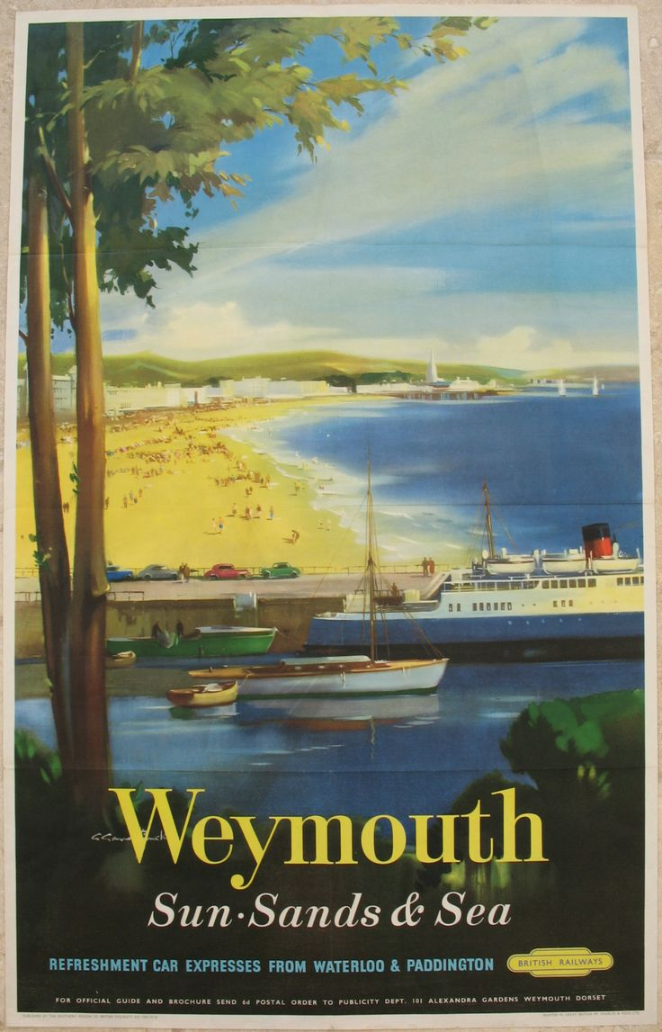 Weymouth - Sun, Sands & Sea by Claude Buckle. The seemingly peaceful docks are in the foreground with a Channel Islands ferry waiting for its next trip. Beyond, we are drawn to the large expanse of sand busy with holidaymakers, enjoying one of England's cleanest and safest beaches. Original Vintage Railway Poster available on originalrailwayposters.co.uk