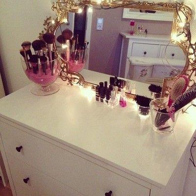 Organized cute makeup area