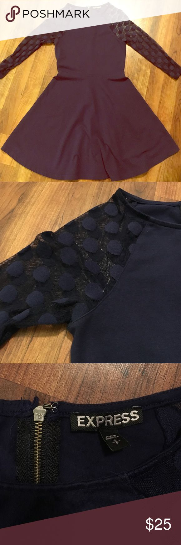 Express  Navy Sheer Polka Dot sleeve dress Great condition! Only worn a few times! Fabric is cotton and spandex. Open to all offers! Express Dresses Long Sleeve