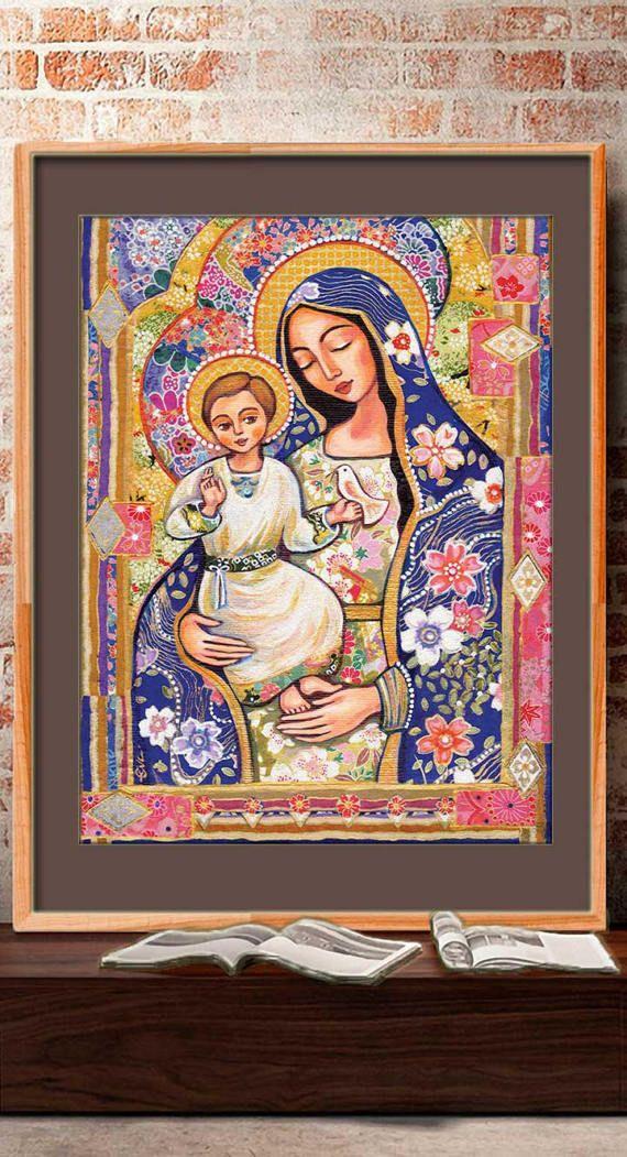 Madonna y niño Panagia Eleousa pintura de Jesús de la Virgen
