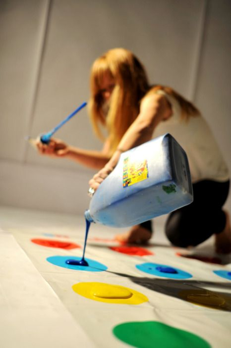 messy twister! this needs to happen...in all white clothes!