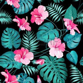 dessin fleur tropicale: Des fleurs et des palmiers de la jungle tropicale. Illustration