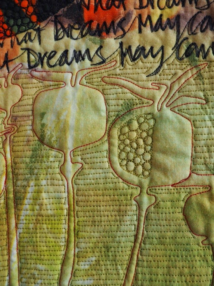 Laura Kemshall - detail'What Dreams May Come', 2015, 48cm x 124cm,Quilt Digital print, reverse appliqué, hand written text, machine quilting.