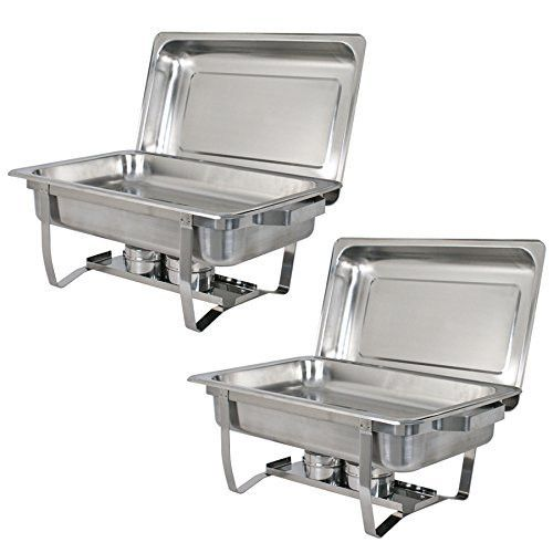 F2C Set of (2) 8 Quart Stainless Steel chafingdish Rectangular Chafing Dish Buffet Catering Full Size New (2 Pack)