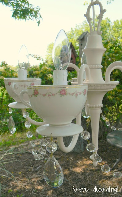 original idea.  cool use for old tea cups you no longer use