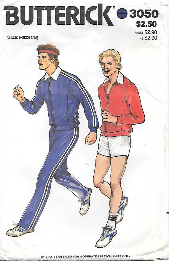Butterick 3050 1980s Mens Jogging Suit by GrandmaMadeWithLove