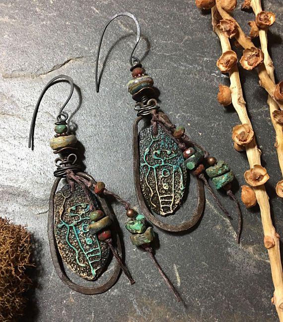 Festival Earrings Boho Tribal Earrings Rustic Earrings