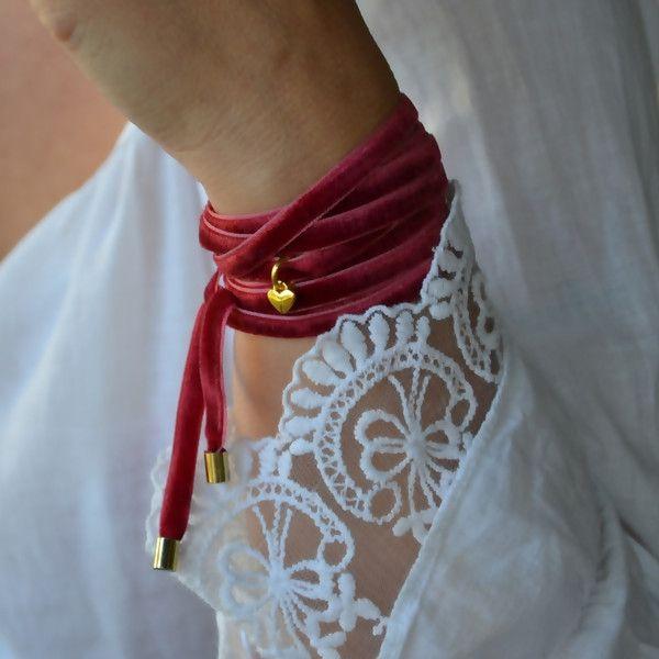 CHOKER - bransoletka - naszyjnik Wrap Red - -Jagna- - Bransoletki i opaski na rękę