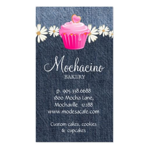 Bakery Business Card Cupcake Jeans Daisy Pink (back side)