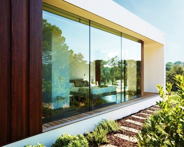 Architecture - Awesome Wide Glass Walls And Wooden Wall In The Villa Indigo Exterior With Flat Roof And White Wall: Amazing Modern House Design Ideas With Wooden Floor