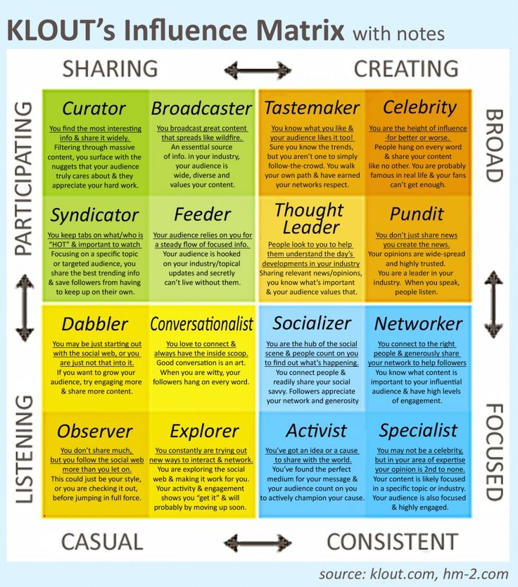 Got Klout? Klout's Influence Matrix with notes.  Susanne Plaumann