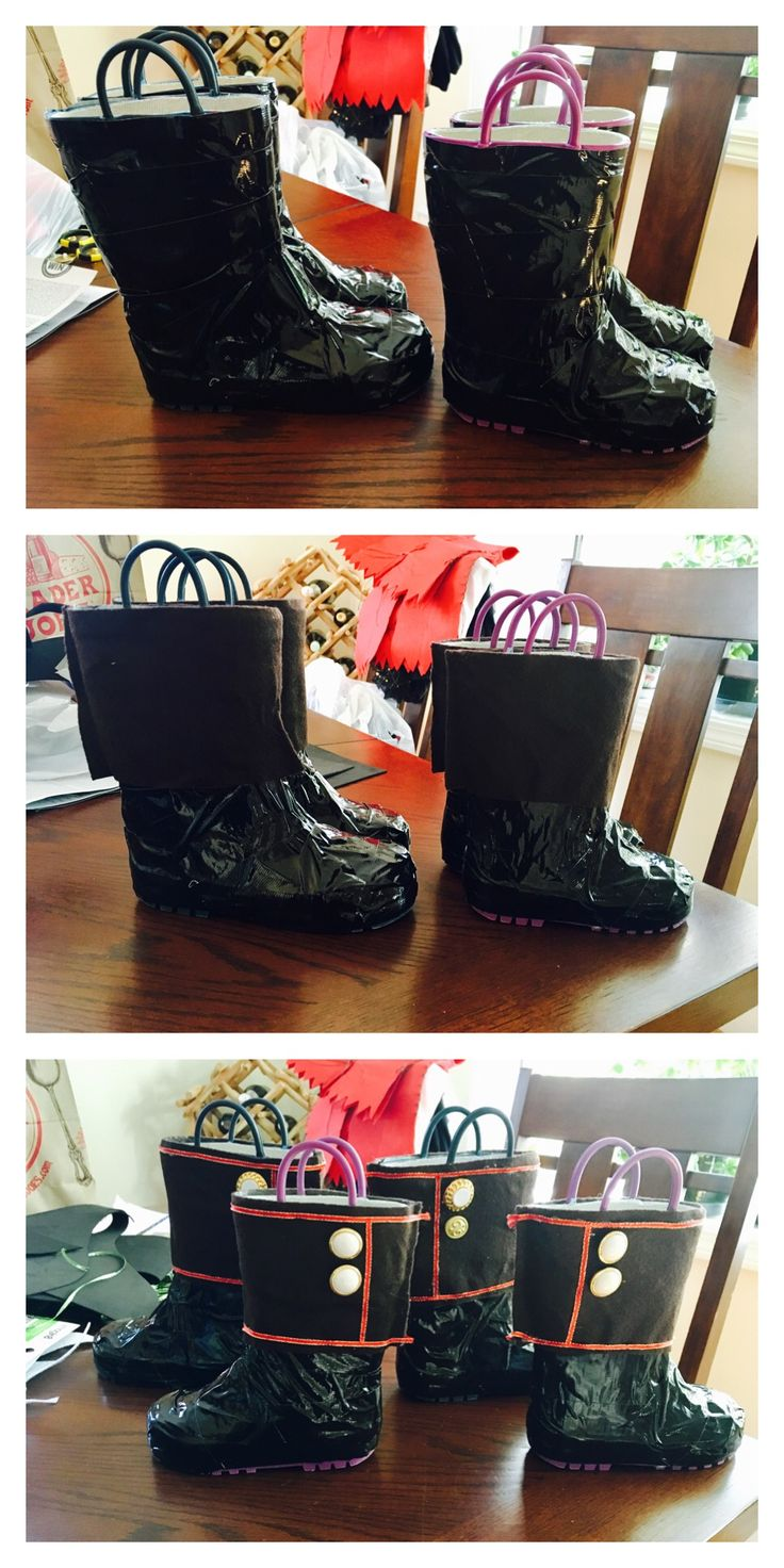 Pirate boots! 1. Coveted regular rain boots with black duct tape. 2. Wrapped the top section with felt. 3. Hot glue gunned embellishments!
