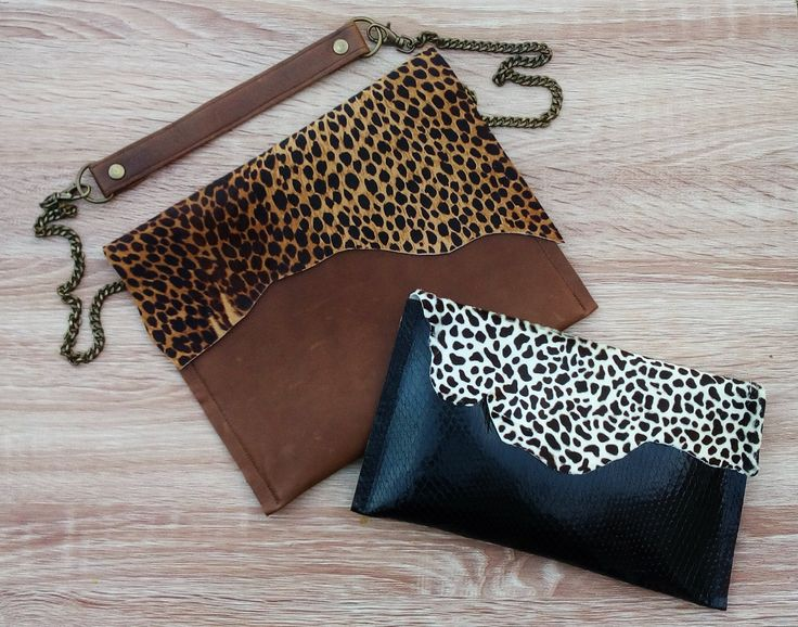 Animal Print Leather Bags, Leopard Print Leather Bag, Dalmatian Print Leather Clutch, Cow Print Leather Clutch, Black White Spot Leather Clutch Bag