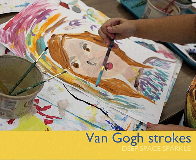 Third grade students create their own Van Gogh-inspired portraits complete with a ¾ view and broad brush strokes.