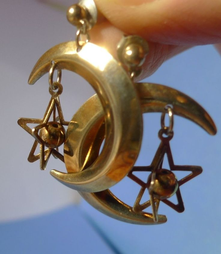 Vintage Fashion jewelry bijouterie Drop Dangle EARRINGS Gold Color Moon & Star #unknown #DropDangle