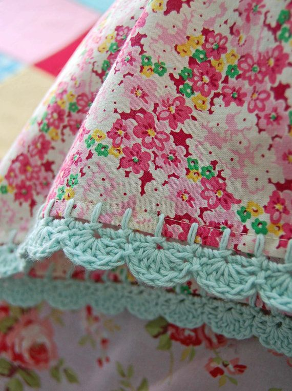 pillowcase with crochet trim Pretty Meadow by rosehip on Etsy
