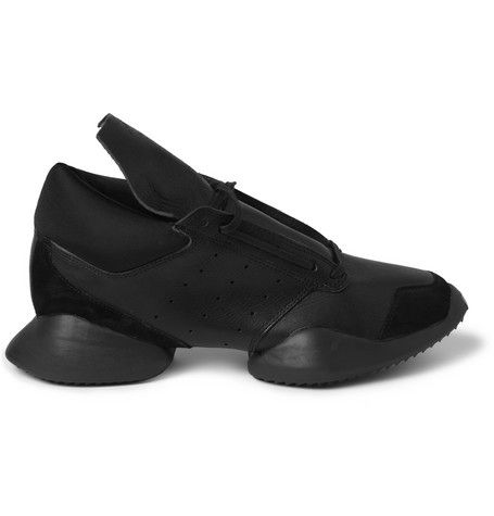 Rick Owens Adidas Leather and Rubber Sneakers | MR PORTER